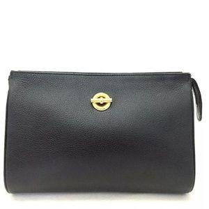 Céline Black Leather Clutch Handbag